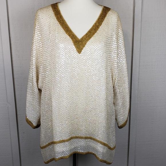 327232c989d13 dominique Tops - Vintage Opal Mother of Pearl Sequin Top